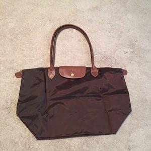 Chocolate brown Longchamp large Le Pliage tote